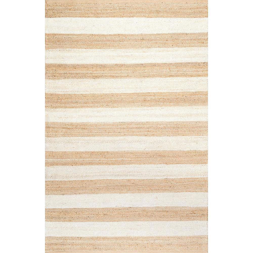 nuLOOM Flatweave Alisia Stripes Jute Off White 6 ft. x 9 ft. Indoor Area Rug