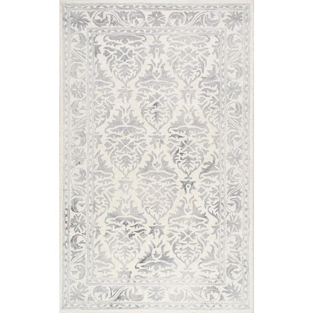 nuLOOM Tapis Noué Main Krause Gris 9 ft. 6 in. x 13 ft. 6 in.