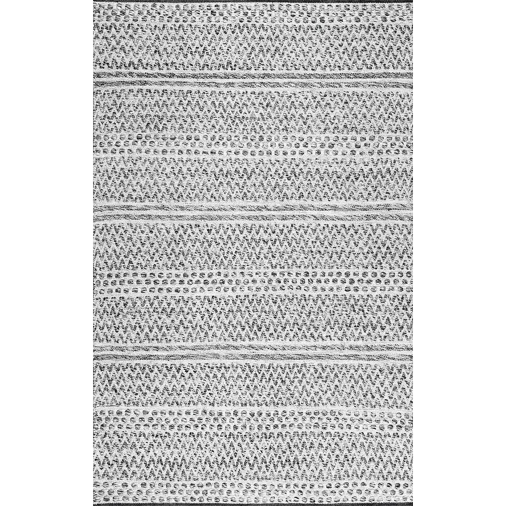 nuLOOM Tapis d'Intérieur/Extérieur Rayé Chevron Natosha Argent 7 ft. 6 in. x 9 ft. 6 in.