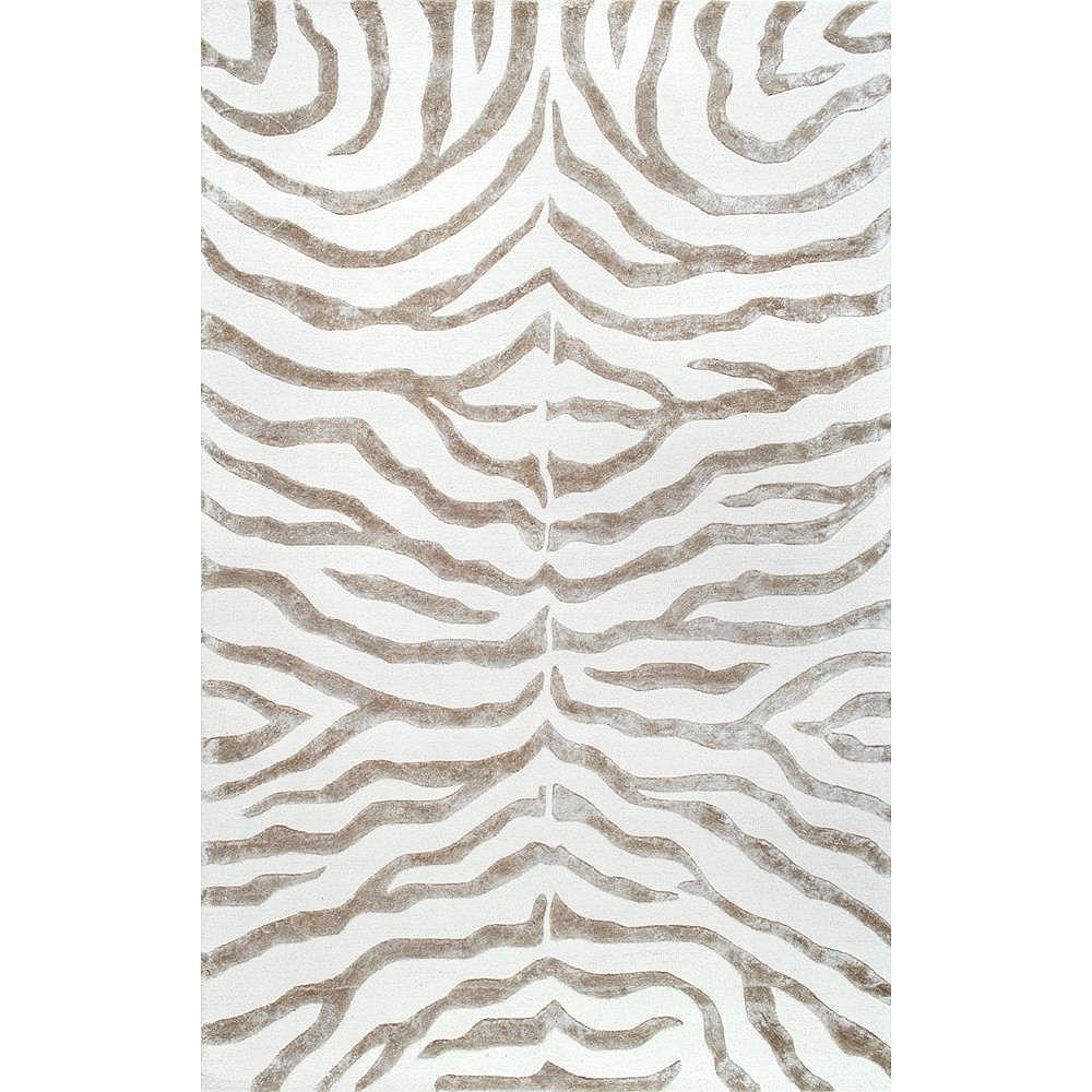 nuLOOM Hand Tufted Plush Zebra Gray 5 ft. x 8 ft. Indoor Area Rug