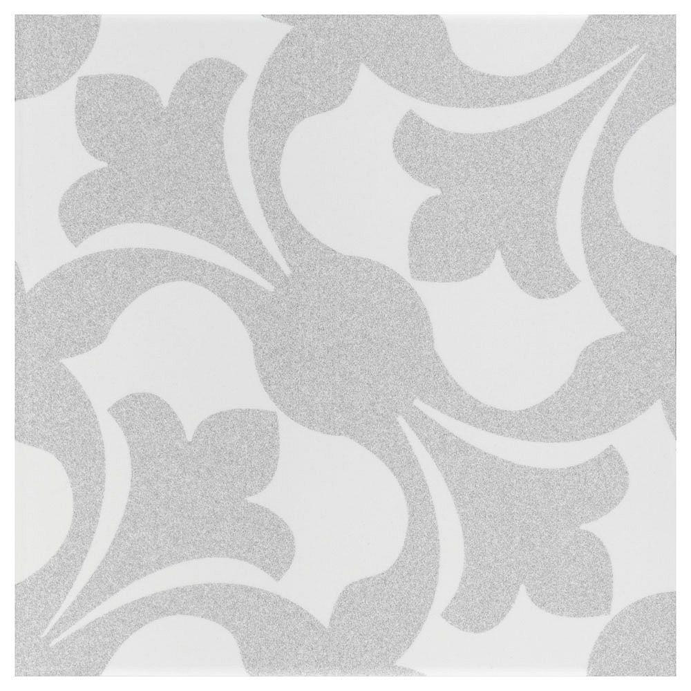 Merola Tile Échantillon - Carreau mural et de sol de céramique Emotion, 7 3/4 po x 7 3/4 po, gris