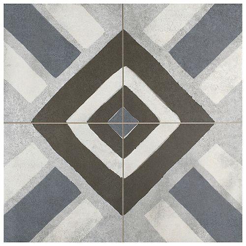 Merola Tile Sample - Kings Sena Azul 8-7/8-inch x 8-7/8-inch Porcelain Floor and Wall Tile