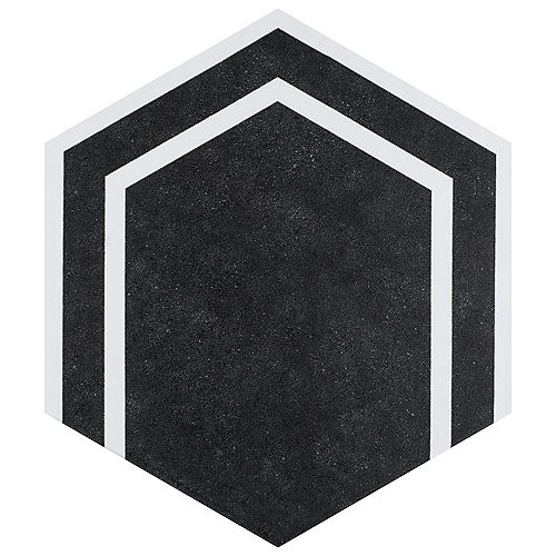 Merola Tile Labyrinth Hex Black 8-5/8-inch x 9-7/8-inch Porcelain Floor and Wall Tile (11.56 sq. ft. /case)