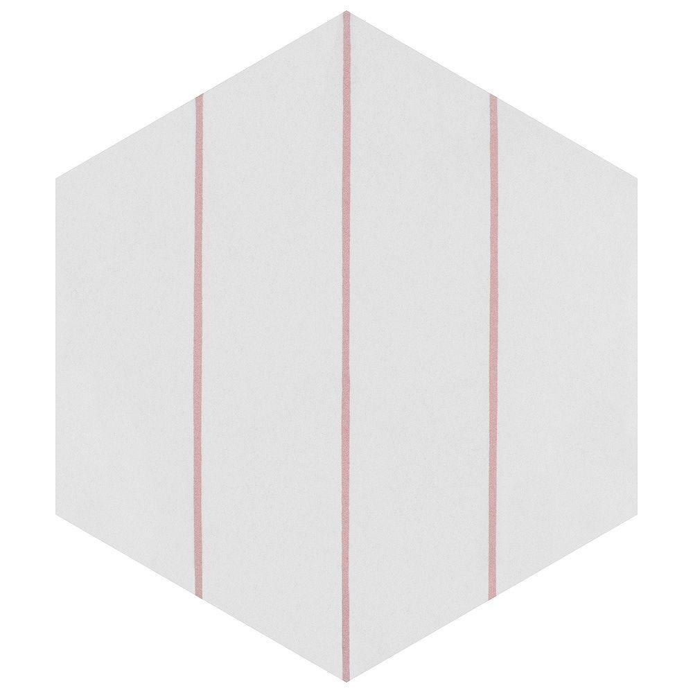 Merola Tile Sample - Porto Savona Hex Rose 8-5/8-inch x 9-7/8-inch Porcelain Floor and Wall Tile
