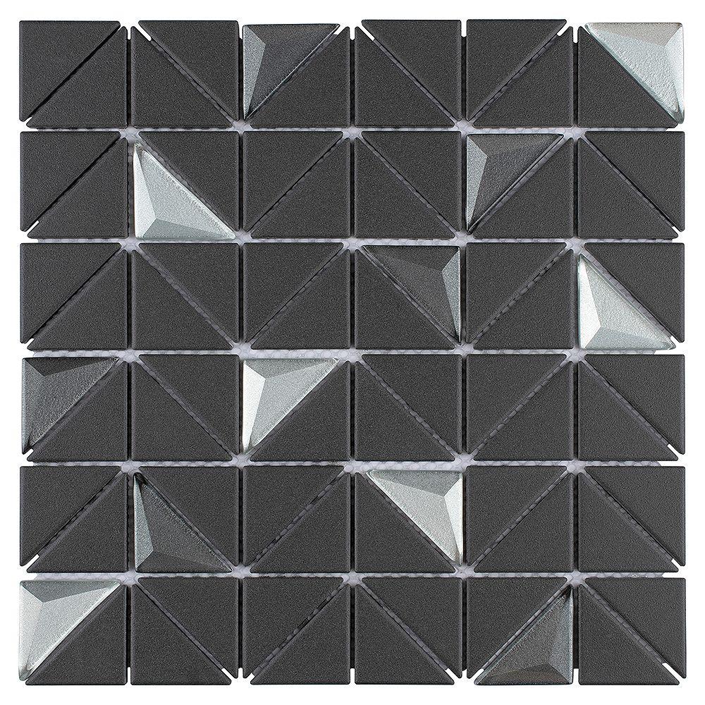 Merola Tile Sample Trego Andromeda Black Grey 10 3 4 In X 10 3 4 In X 6mm Unglazed Porce The Home Depot Canada