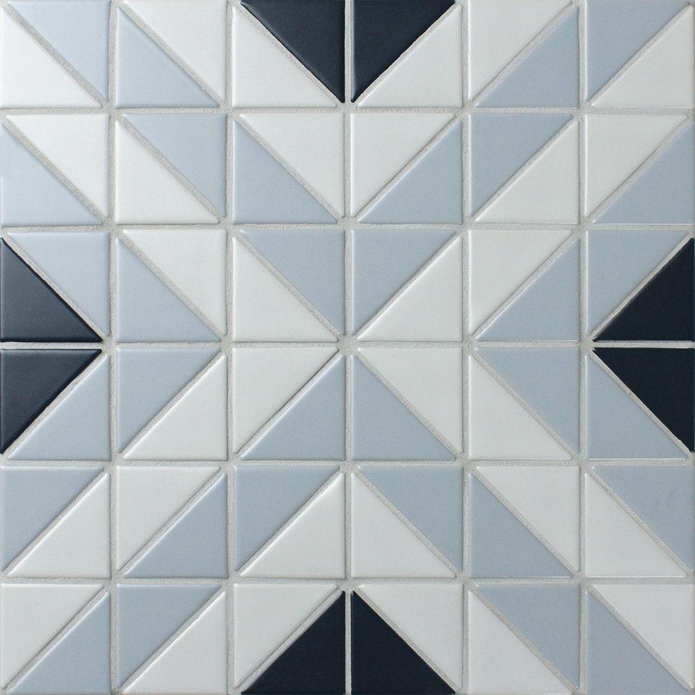 Merola Tile Sample - Tre Apex Blue Ice Mix 10-3/4-inch x 10-3/4-inch x 6 mm Porcelain Mosaic Tile