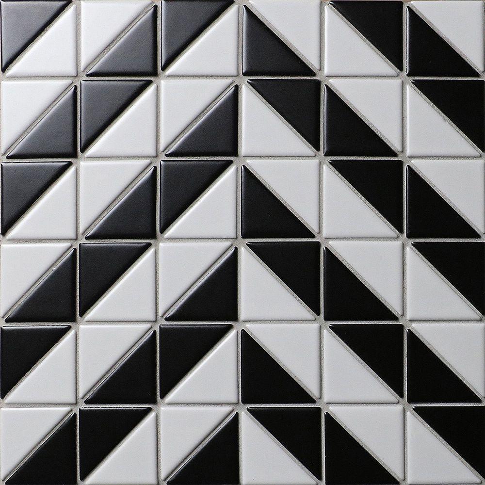 Merola Tile Sample - Tre Duel Chevron White and Black 10-3/4-inch x 10-3/4-inch x 6 mm Porcelain Mosaic Tile