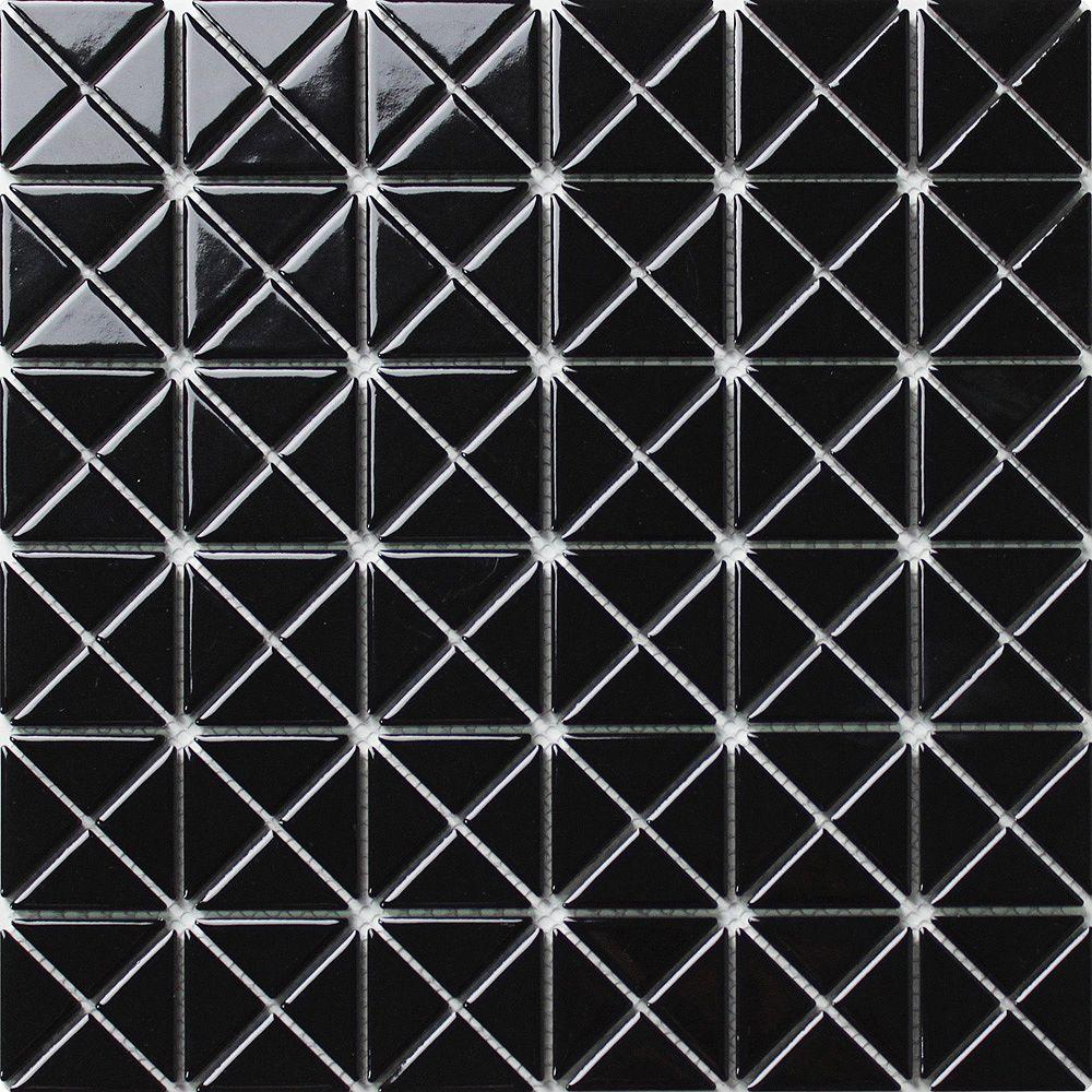 Merola Tile Échantillon - Carreau de porcelaine Tre Mini Crossover, 10 3/4 po x 10 3/4 po x 6 mm, noir lustré