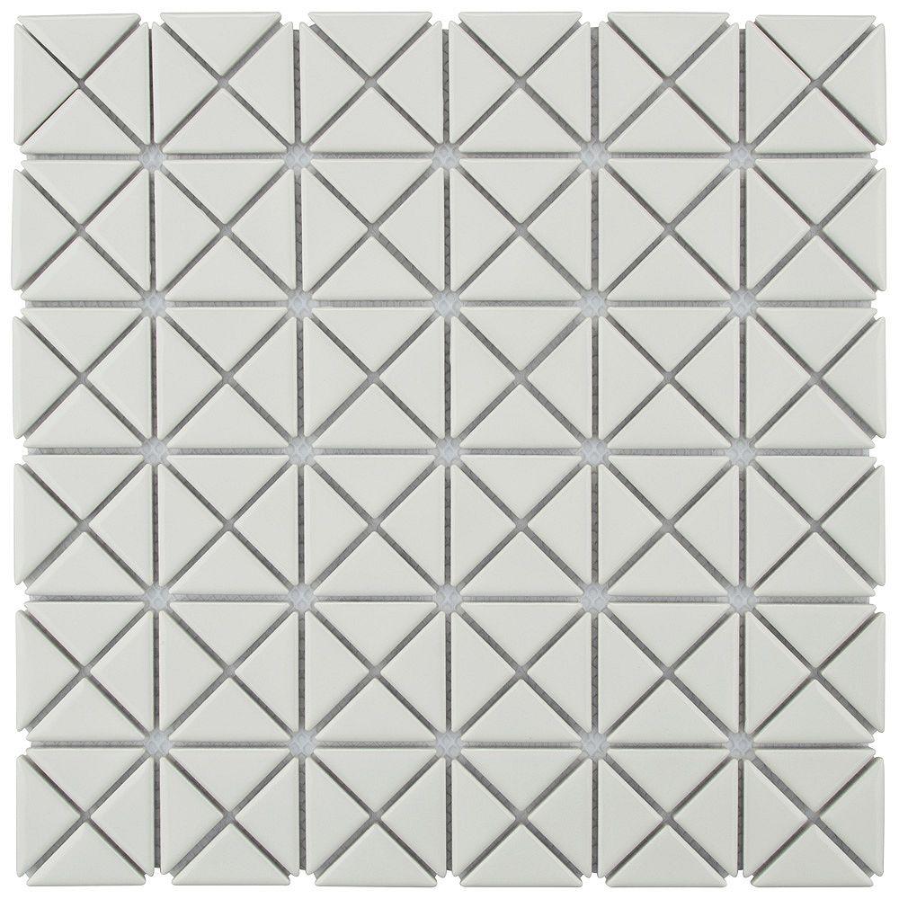 Merola Tile Échantillon - Carreau de porcelaine Tre Mini Crossover, 10 3/4 po x 10 3/4 po x 6 mm, blanc lustré