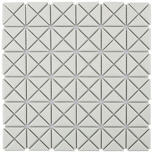 Merola Tile Sample - Tre Mini Crossover Glossy White 10-3/4-inch x 10-3/4-inch x 6 mm Porcelain Mosaic Tile