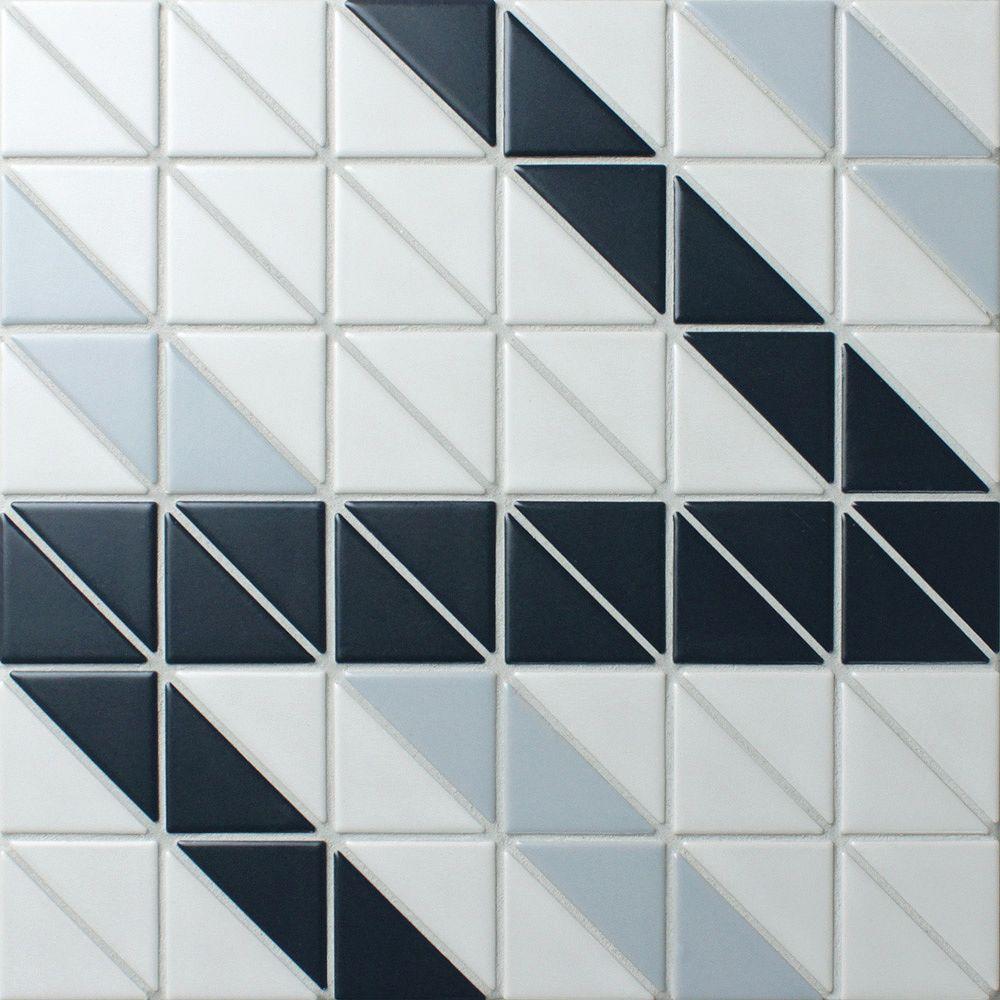 Merola Tile Échantillon - Carreau de porcelaine Tre Ribbon Blue Ice Mix, 10 3/4 po x 10 3/4 po x 6 mm