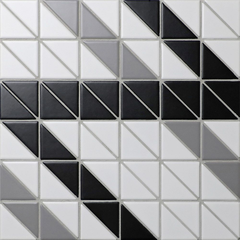 Merola Tile Sample - Tre Ribbon Classic Mix 10-3/4-inch x 10-3/4-inch x 6 mm Porcelain Mosaic Tile