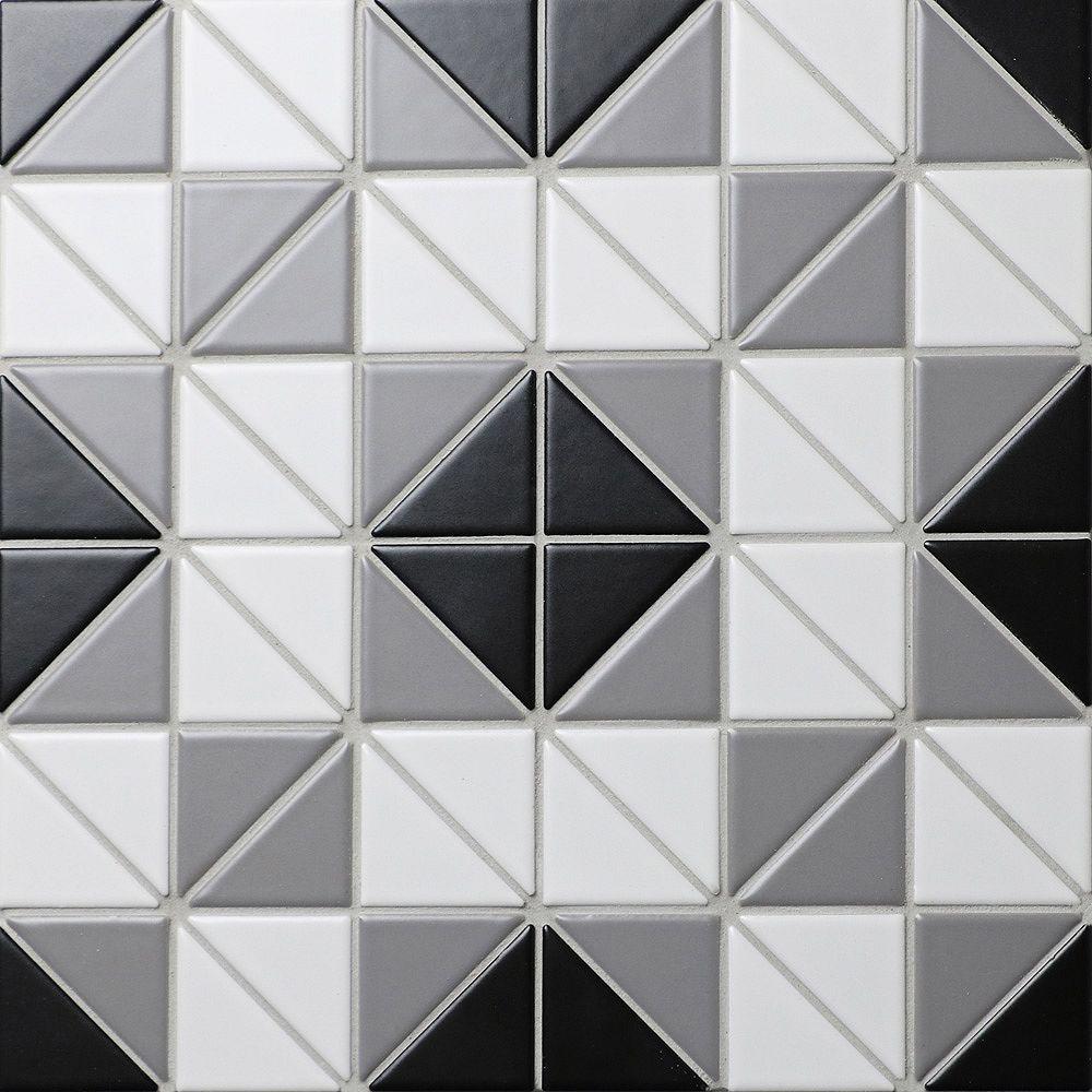 Merola Tile Échantillon - Carreau de porcelaine Tre Square Classic Mix, 10 3/4 po x 10 3/4 po x 6 mm