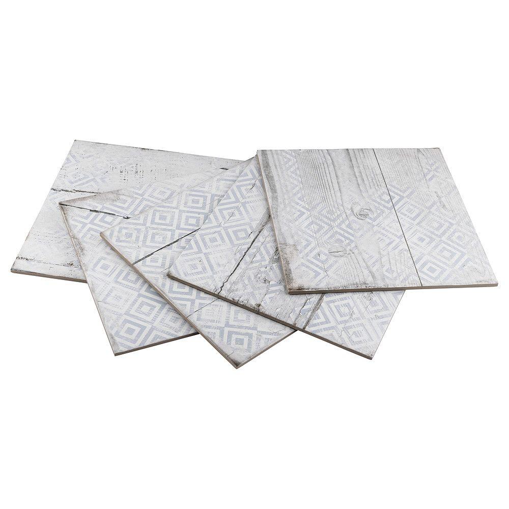 Merola Tile Échantillon - Carreau mural et de sol de porcelaine Silo Wood Decor, 12 1/4 po x 12 1/4 po, blanc