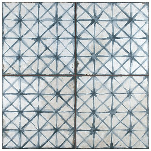 Merola Tile Sample - Kings Temple Blue 8-7/8-inch x 8-7/8-inch Ceramic Floor and Wall Tile