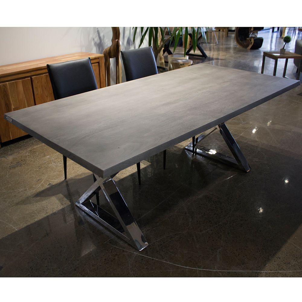 Floortex Table 80'' en acacia gris avec base en acier inoxydable