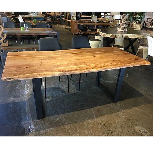 Table 80'' en acacia avec base en U noir