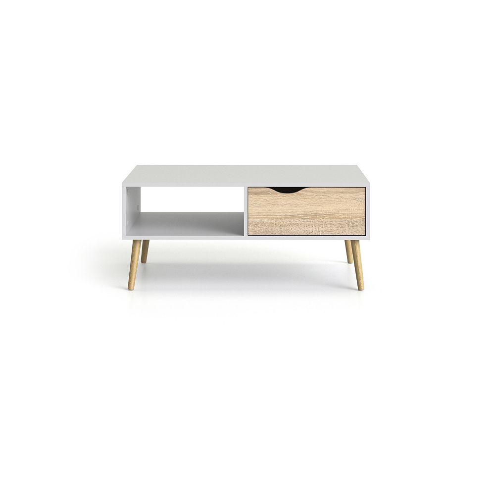 Tvilum Diana Table basse avec 1 tiroir, Coloris Blanc/Structure Chêne