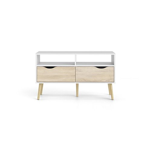Diana TV Stand with 2 Drawers and 2 Shelves in White/Oak Structure