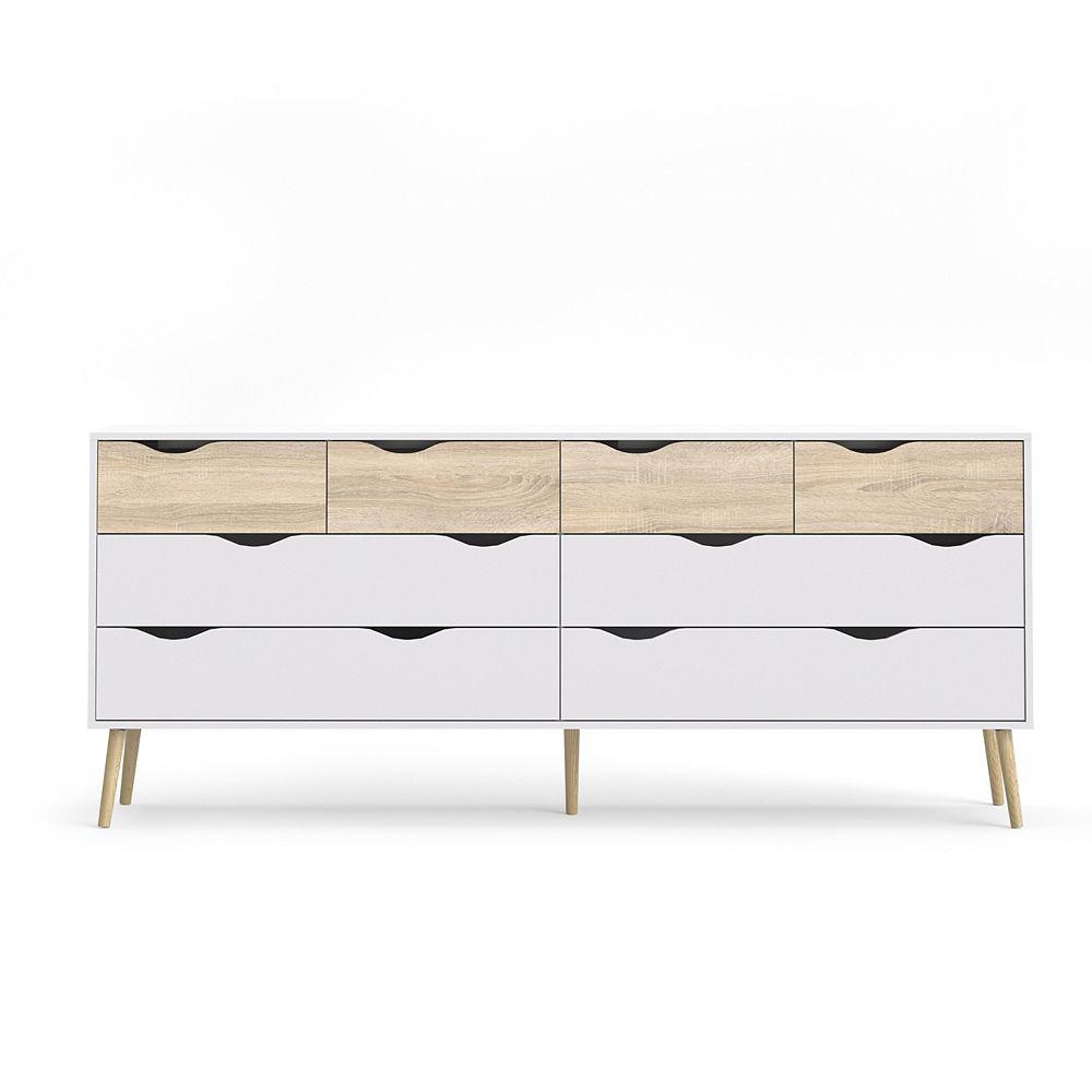 Tvilum Diana 8 Drawer Double Dresser in White/Oak Structure