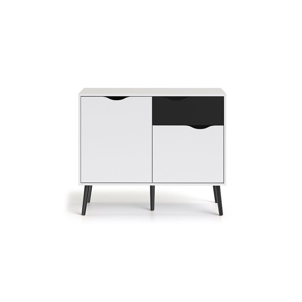 Tvilum Diana Buffet avec 2 portes + 1 tiroir, Coloris Blanc/Noir mat