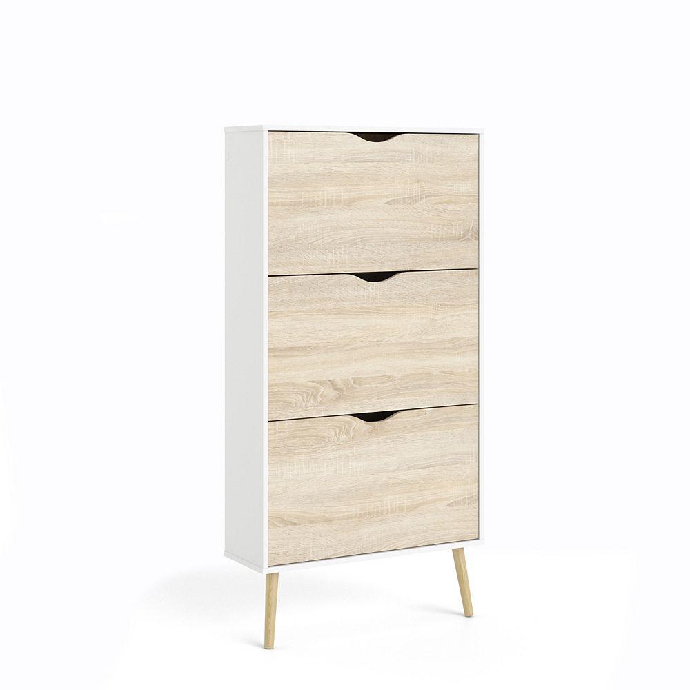 Tvilum Diana 3 Drawer Shoe Cabinet in White/Oak Structure