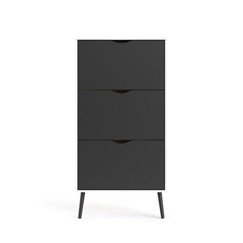 Diana 3 Drawer Shoe Cabinet in White/Black Matte