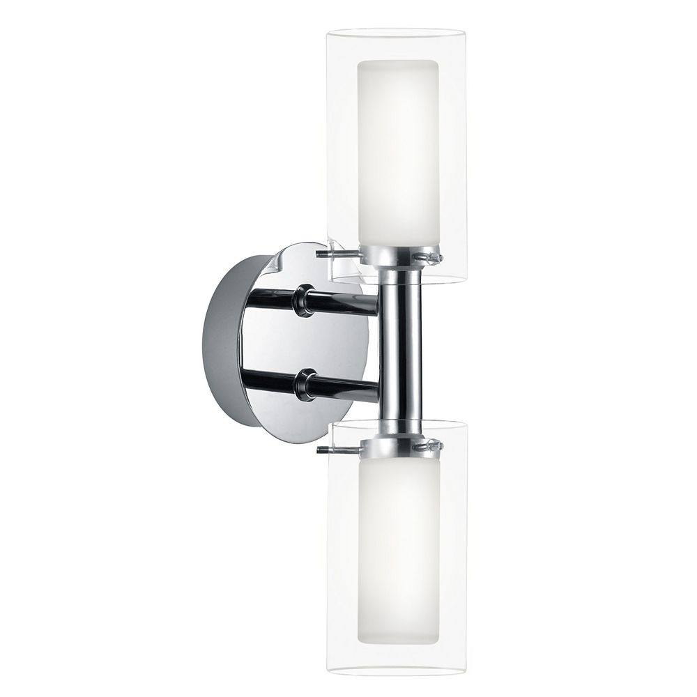 Eglo Palermo Vanity Light 2L, Chrome Fisnish with White & Clear Glass