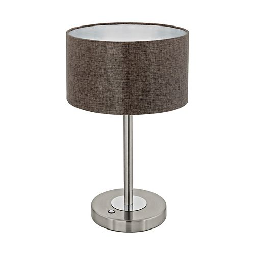 Eglo Romao LED Table Lamp, Matte Nickel Finish with Brown Linen Fabric Shade