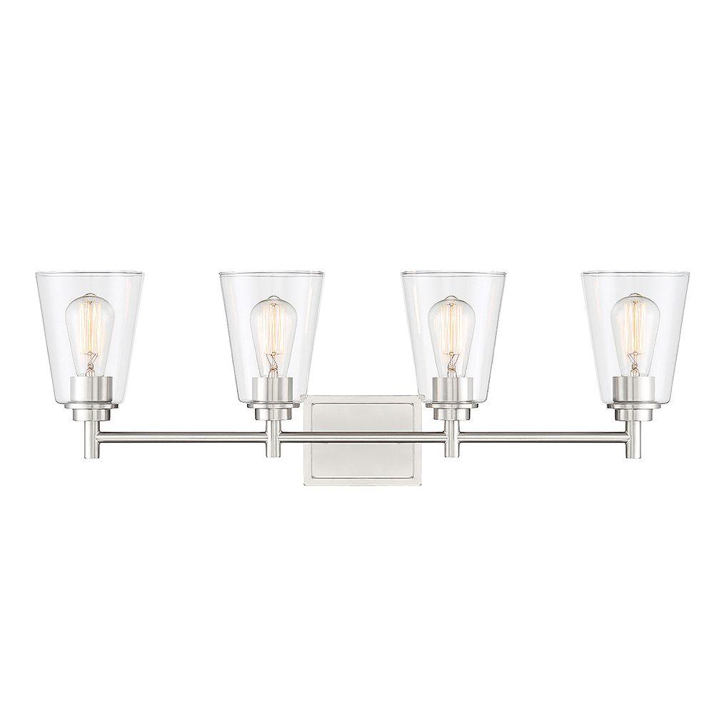 Designers Fountain Luminairede salle de bain à 4 ampoules, fini platine satiné