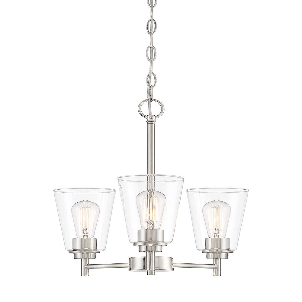 Designers Fountain 18-inch 3-Light 60W Satin Platinum LED Chandelier Light Fixture with Clear Glass Shade