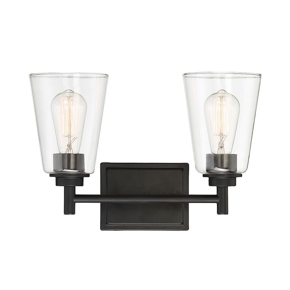 Designers Fountain Luminaire de salle de bain à 2 ampoules, fini noir mat