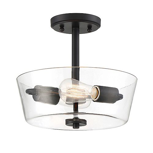 Designers Fountain Semi-plafonnier à 2 ampoules, fini noir mat