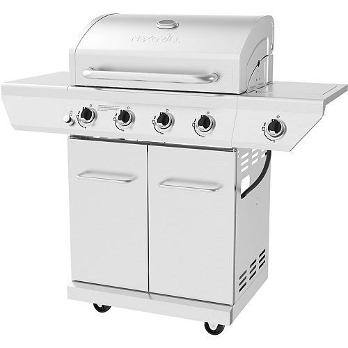 60,000 BTU 4-Burner Propane BBQ in Stainless Steel with 626 sq. Inches of Cooking Surface and Side Burner