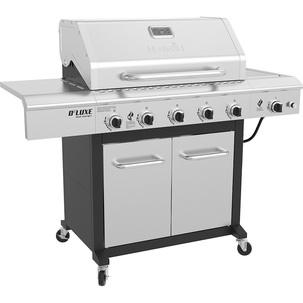 NexGrill 5-Burner Propane BBQ in Stainless Steel with Ceramic Searing Side Burner