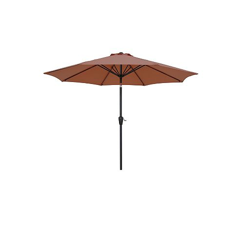 Hampton Bay 9 ft. Aluminum Market Patio Umbrella with Push Button Tilt and Crank in Sienna