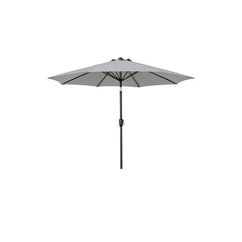 Hampton Bay 9 ft. Aluminum Market Patio Umbrella with Push Button Tilt and Crank in Grey