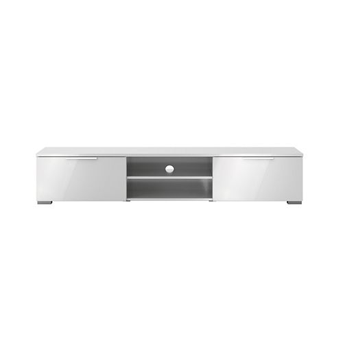 Match 2 Drawer 2 Shelf TV Stand in White High Gloss