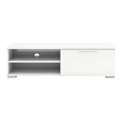 Match 1 Drawer 2 Shelf TV Stand in White High Gloss
