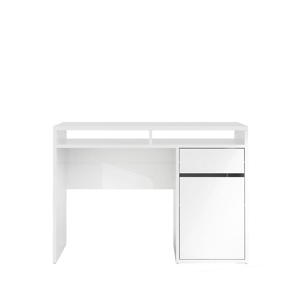 Tvilum Willis Bureau 1 tiroir + 1 porte, Coloris Blanc laqué