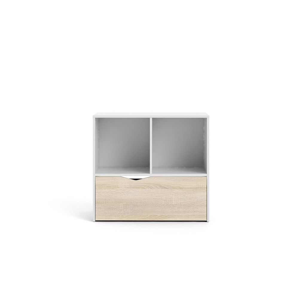 Tvilum Diana Bookcase with Drawer in White/Oak Structure