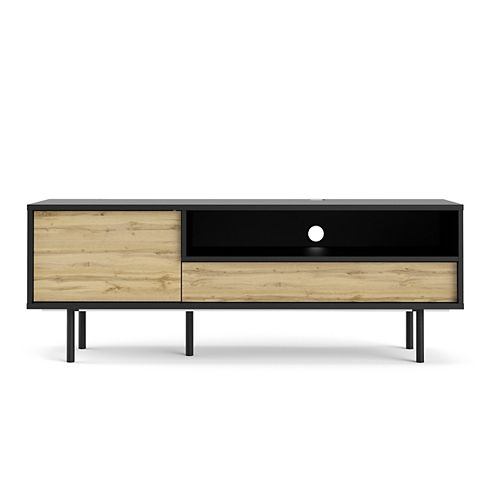 Match TV Stand with 1 Door and 1 Drawer in Black Matte/Wotan Light Oak