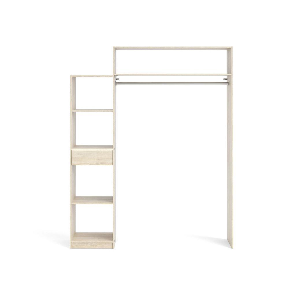 Tvilum Lola 1 Drawer, 5 Shelf Wardrobe with Hanging Rod in Oak Structure