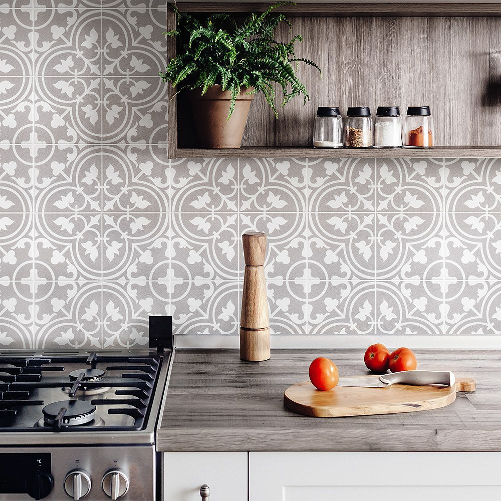 Merola Tile Sample - Torino Gris 7-3/4-inch x 7-3/4-inch Ceramic Floor and Wall Tile