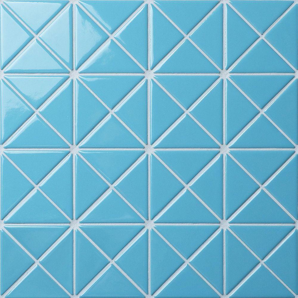Merola Tile Carreau de porcelaine Tre Crossover, 10 1/8 po x 10 1/8 po x 6 mm, bleu pastel, 7,3 pi2/bte