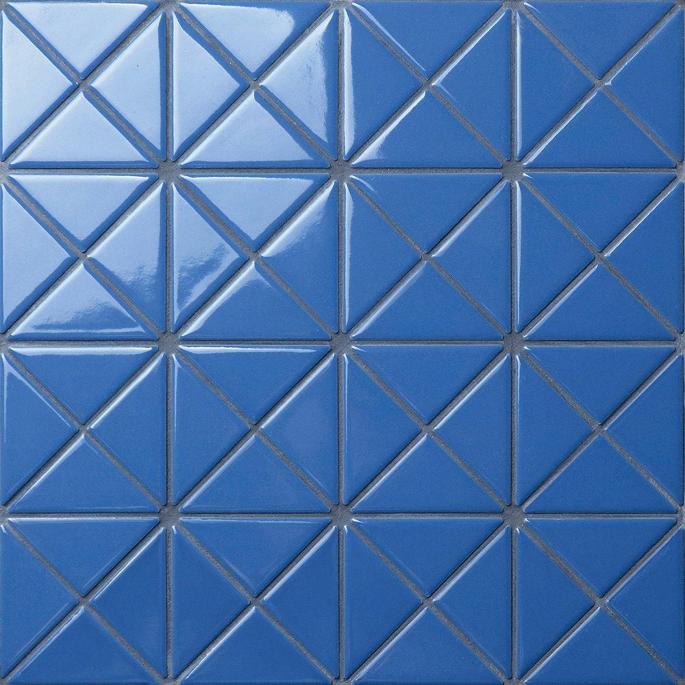 Merola Tile Tre Crossover Cornflower Blue 10-1/8-inch x 10-1/8-inch x 6 mm Porcelain Mosaic Tile (7.3 sqft/case)
