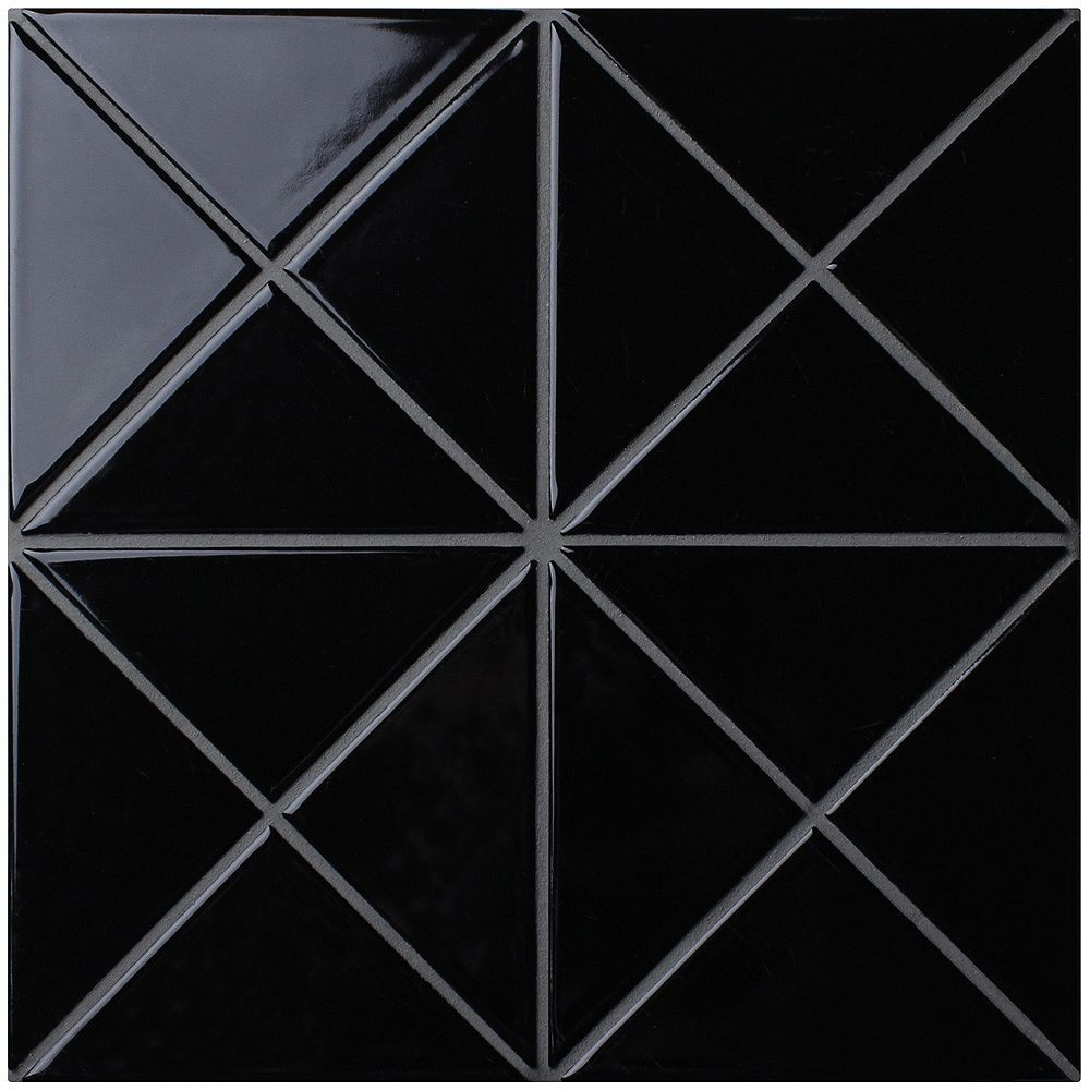 Merola Tile Tre Super Crossover Glossy Black 10-1/4-inch x 10-1/4-inch x 6 mm Porcelain Mosaic Tile (7.48 sf/ca)