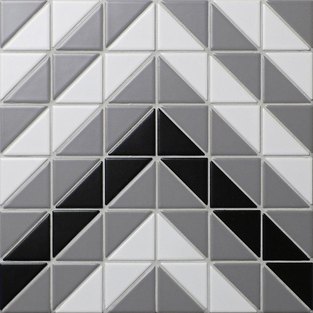 Merola Tile Sample - Tre Chevron Classic Mix 10-3/4-inch x 10-3/4-inch x 6 mm Porcelain Mosaic Tile