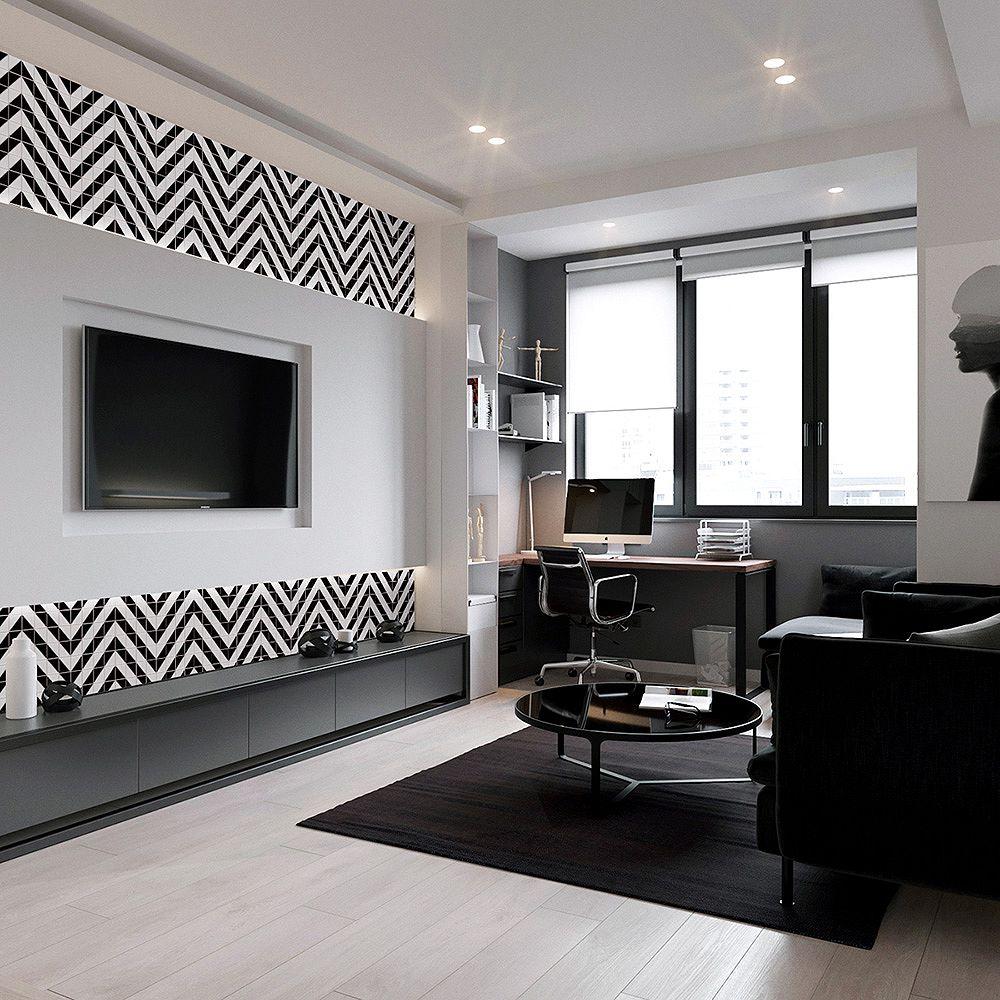 Merola Tile Sample - Tre Chevron White with Black 10-3/4-inch x 10-3/4-inch x 6 mm Porcelain Mosaic Tile