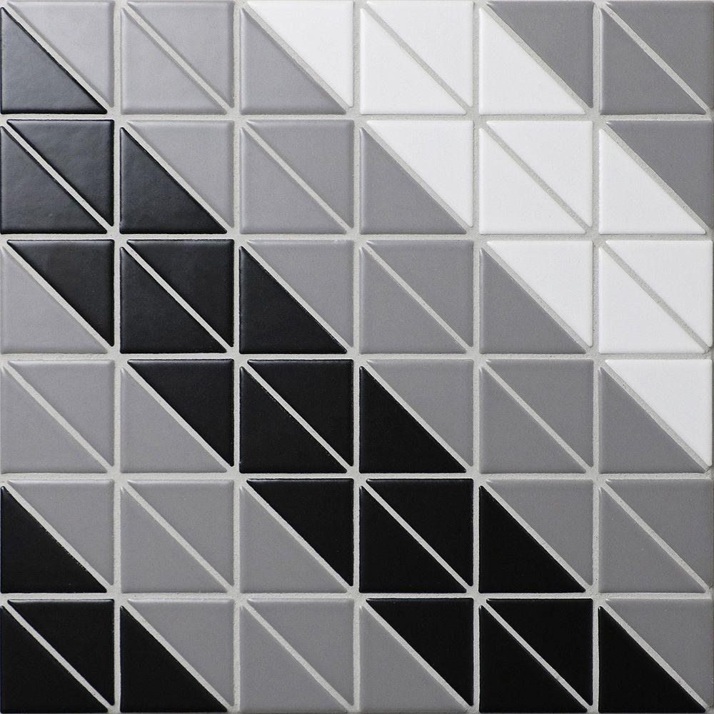 Merola Tile Sample - Tre Square Twist Classic Mix 10-3/4-inch x 10-3/4-inch x 6 mm Porcelain Mosaic Tile